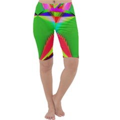 Colorful Abstract Butterfly With Flower  Cropped Leggings  by designworld65