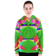 Colorful Abstract Butterfly With Flower  Women s Zipper Hoodie by designworld65