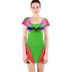 Colorful Abstract Butterfly With Flower  Short Sleeve Bodycon Dress by designworld65