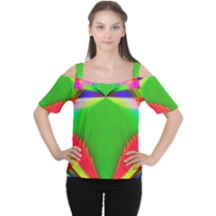 Colorful Abstract Butterfly With Flower  Women s Cutout Shoulder Tee by designworld65