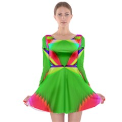 Colorful Abstract Butterfly With Flower  Long Sleeve Skater Dress by designworld65