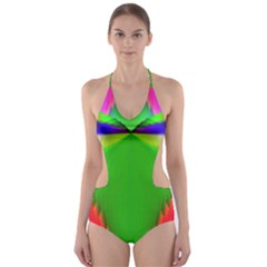 Colorful Abstract Butterfly With Flower  Cut Out One Piece Swimsuit