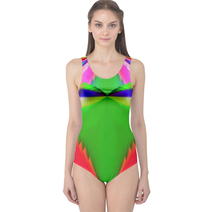 Colorful Abstract Butterfly With Flower  One Piece Swimsuit