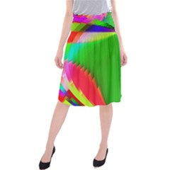 Colorful Abstract Butterfly With Flower  Midi Beach Skirt