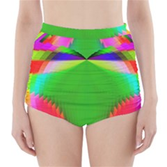 Colorful Abstract Butterfly With Flower  High Waisted Bikini Bottoms