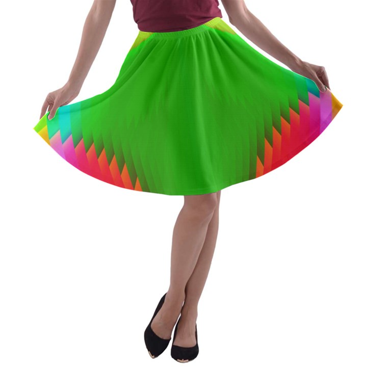 Colorful Abstract Butterfly With Flower  A-line Skater Skirt