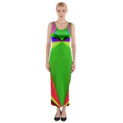 Colorful Abstract Butterfly With Flower  Fitted Maxi Dress