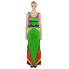 Colorful Abstract Butterfly With Flower  Maxi Thigh Split Dress