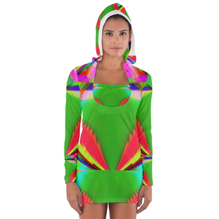 Colorful Abstract Butterfly With Flower  Women s Long Sleeve Hooded T-shirt