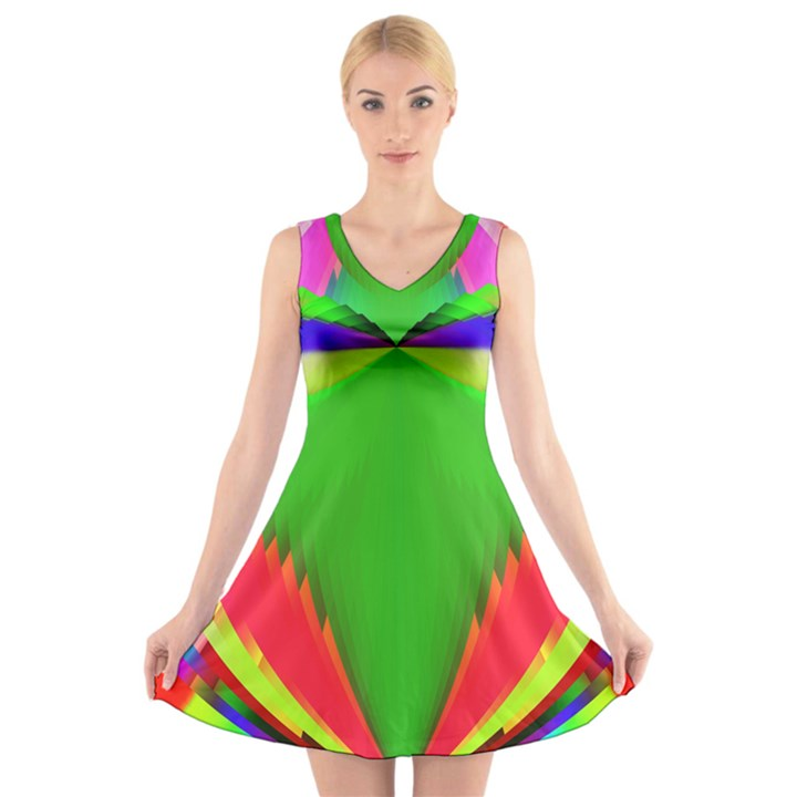 Colorful Abstract Butterfly With Flower  V-Neck Sleeveless Skater Dress