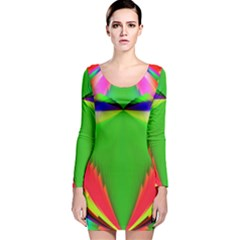 Colorful Abstract Butterfly With Flower  Long Sleeve Velvet Bodycon Dress by designworld65