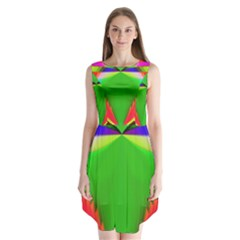 Colorful Abstract Butterfly With Flower  Sleeveless Chiffon Dress   by designworld65