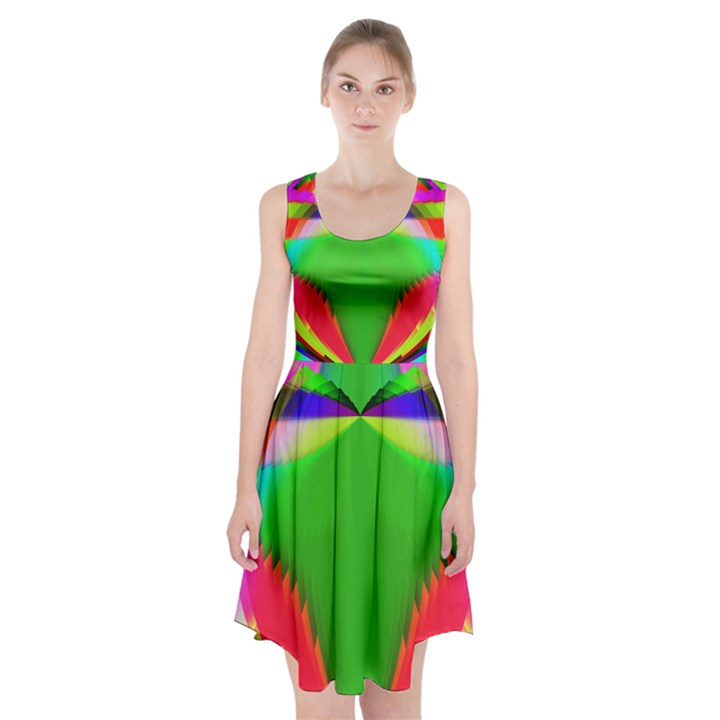 Colorful Abstract Butterfly With Flower  Racerback Midi Dress