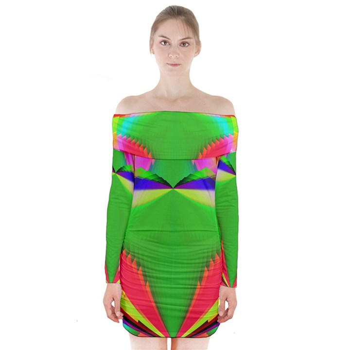 Colorful Abstract Butterfly With Flower  Long Sleeve Off Shoulder Dress