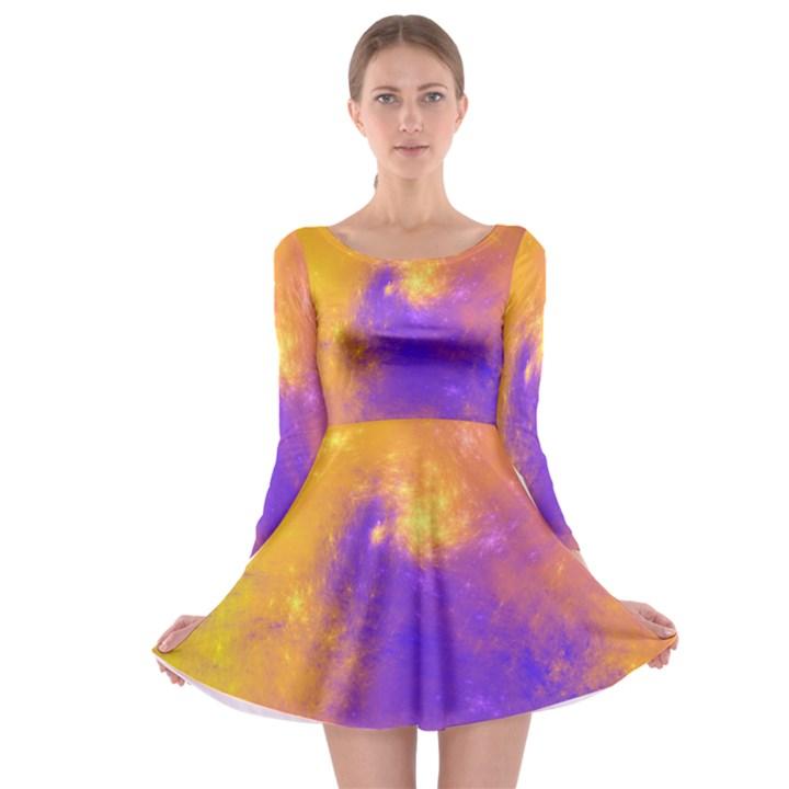 Colorful Universe Long Sleeve Skater Dress