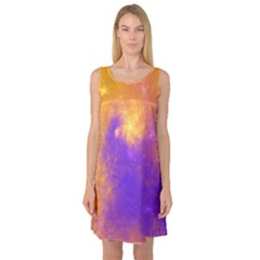 Colorful Universe Sleeveless Satin Nightdress by designworld65