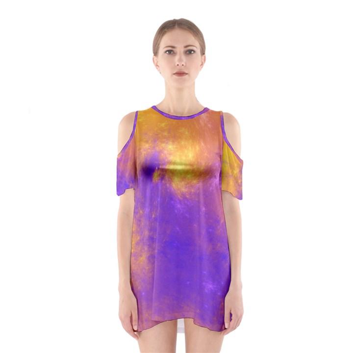 Colorful Universe Cutout Shoulder Dress