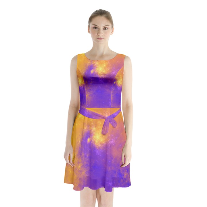 Colorful Universe Sleeveless Chiffon Waist Tie Dress