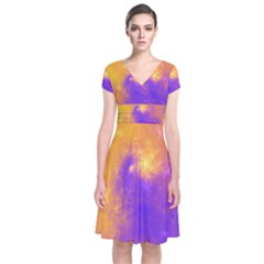 Colorful Universe Short Sleeve Front Wrap Dress by designworld65