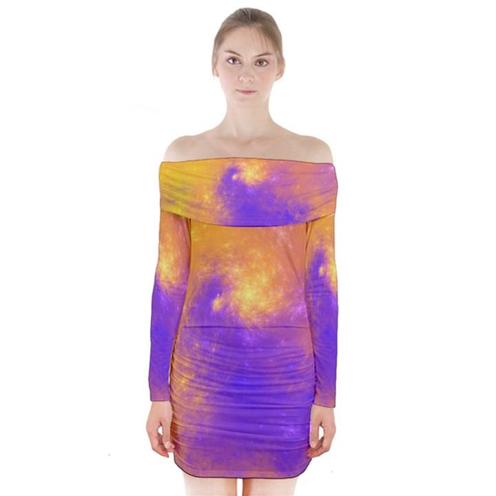 Colorful Universe Long Sleeve Off Shoulder Dress