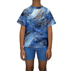 Blue Colorful Abstract Design  Kids  Short Sleeve Swimwear