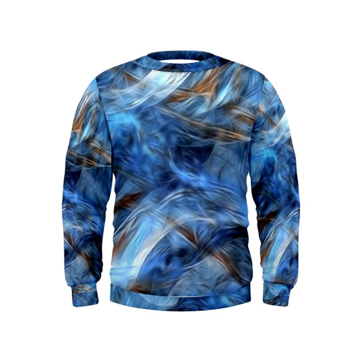 Blue Colorful Abstract Design  Kids  Sweatshirt