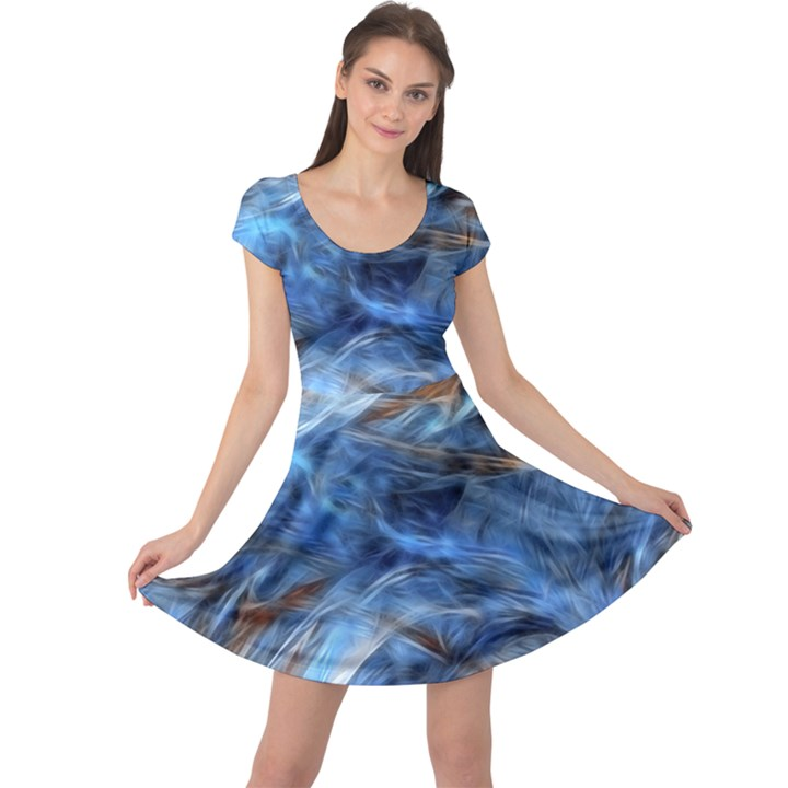 Blue Colorful Abstract Design  Cap Sleeve Dresses