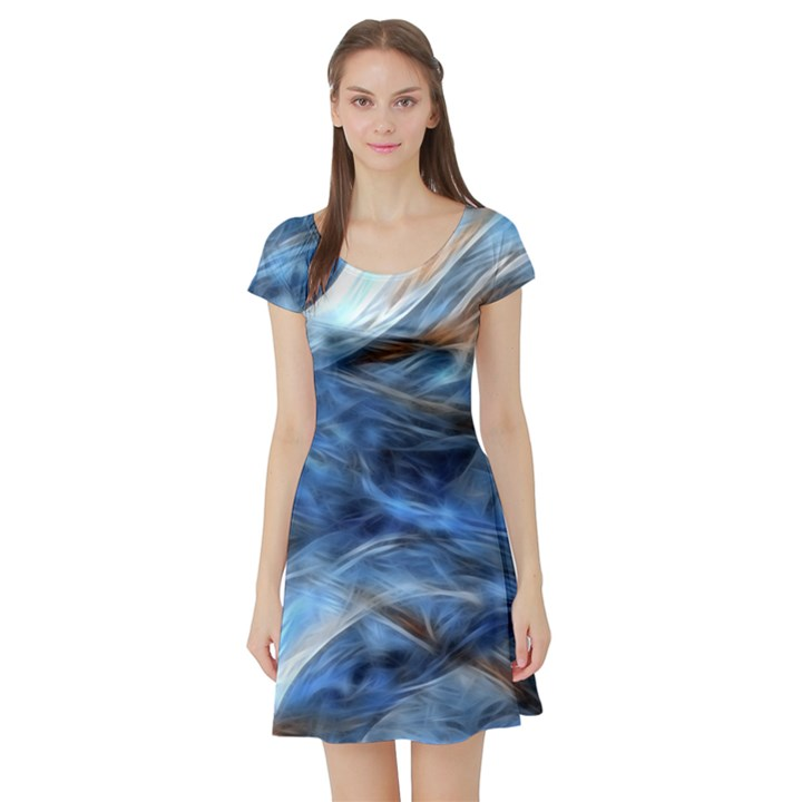 Blue Colorful Abstract Design  Short Sleeve Skater Dress
