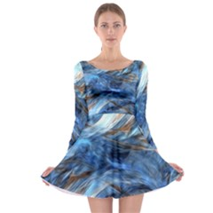 Blue Colorful Abstract Design  Long Sleeve Skater Dress by designworld65