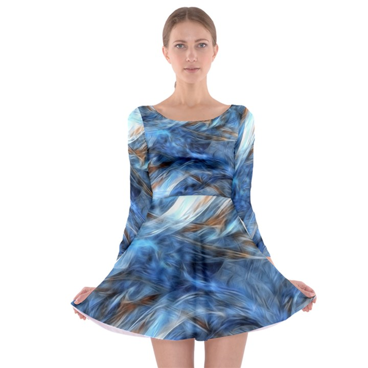 Blue Colorful Abstract Design  Long Sleeve Skater Dress