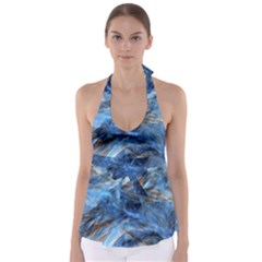 Blue Colorful Abstract Design  Babydoll Tankini Top