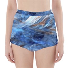 Blue Colorful Abstract Design  High Waisted Bikini Bottoms