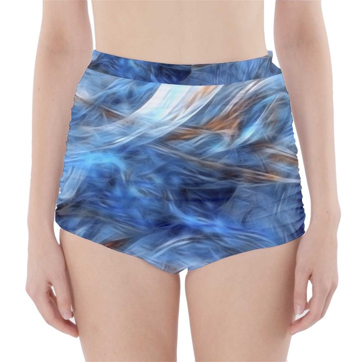 Blue Colorful Abstract Design  High-Waisted Bikini Bottoms