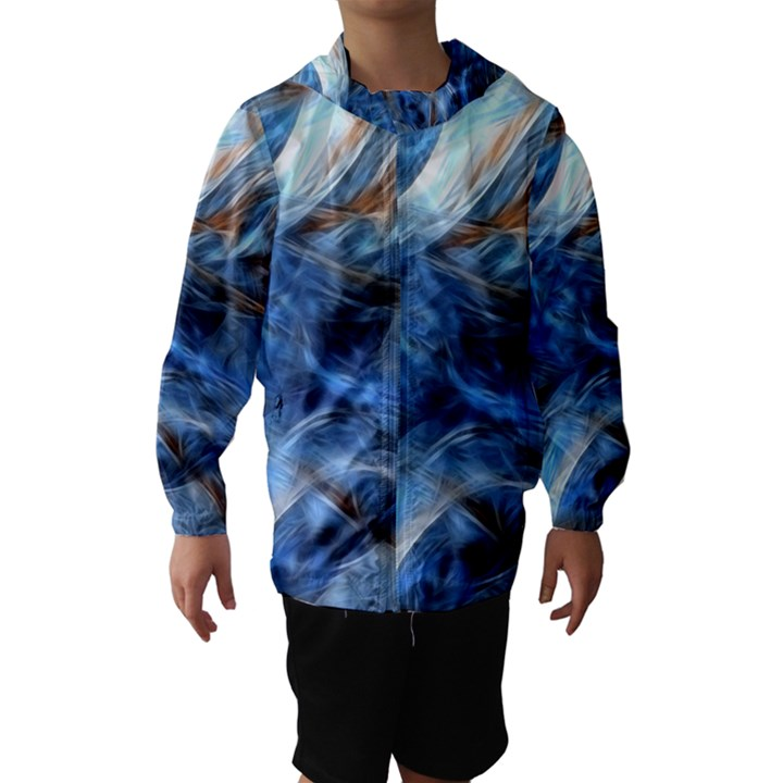 Blue Colorful Abstract Design  Hooded Wind Breaker (Kids)