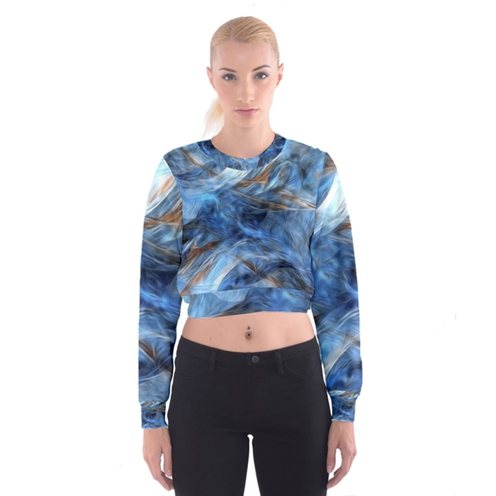 Blue Colorful Abstract Design  Women s Cropped Sweatshirt