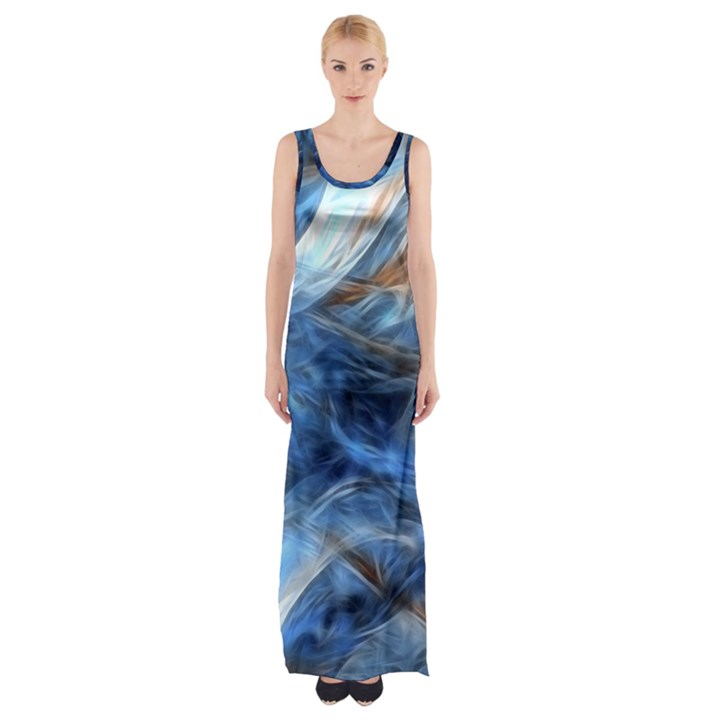 Blue Colorful Abstract Design  Maxi Thigh Split Dress