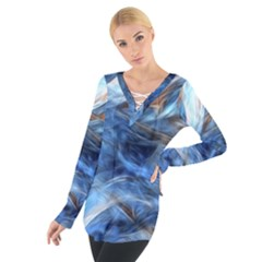 Blue Colorful Abstract Design  Women s Tie Up Tee
