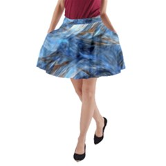 Blue Colorful Abstract Design  A Line Pocket Skirt by designworld65