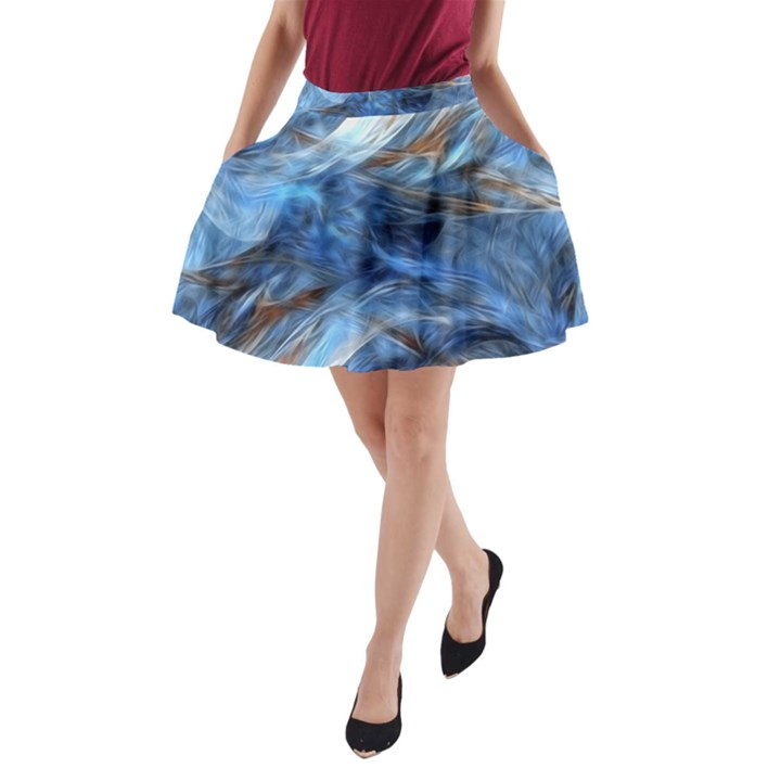 Blue Colorful Abstract Design  A-Line Pocket Skirt