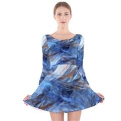 Blue Colorful Abstract Design  Long Sleeve Velvet Skater Dress by designworld65