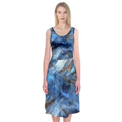 Blue Colorful Abstract Design  Midi Sleeveless Dress by designworld65
