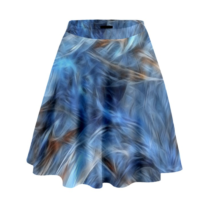 Blue Colorful Abstract Design  High Waist Skirt