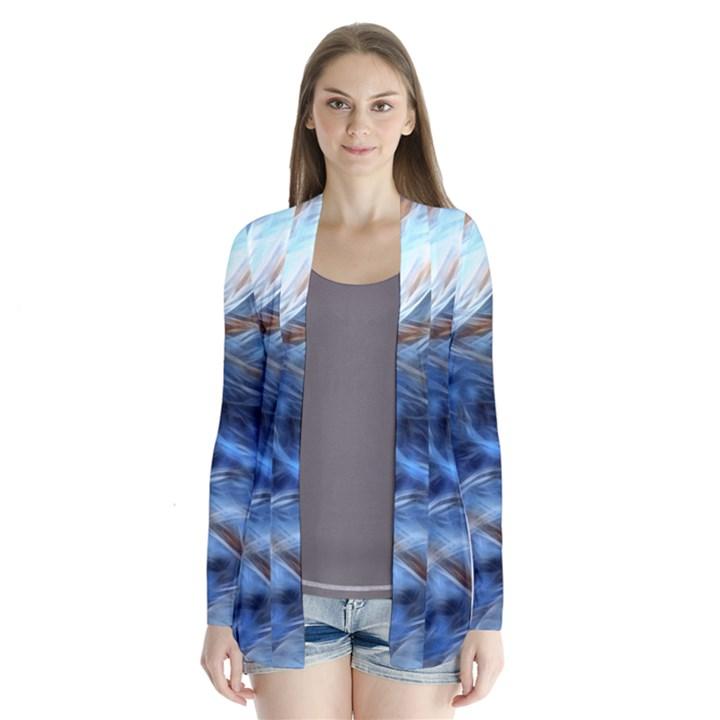 Blue Colorful Abstract Design  Drape Collar Cardigan