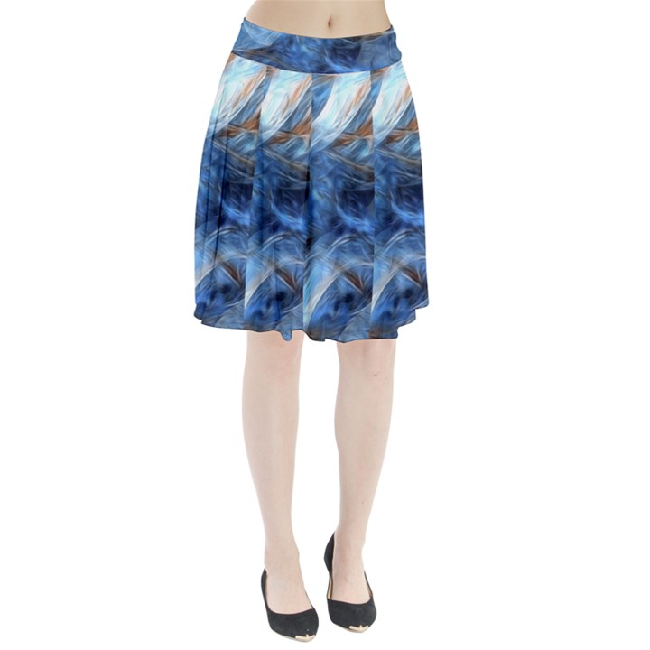 Blue Colorful Abstract Design  Pleated Skirt
