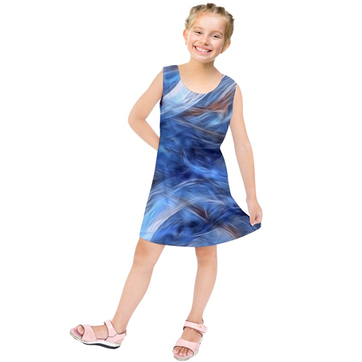 Blue Colorful Abstract Design  Kids  Tunic Dress