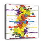 Crazy Multicolored Double Running Splashes Mini Canvas 8  x 8