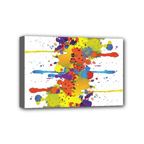 Crazy Multicolored Double Running Splashes Mini Canvas 6  X 4  by EDDArt
