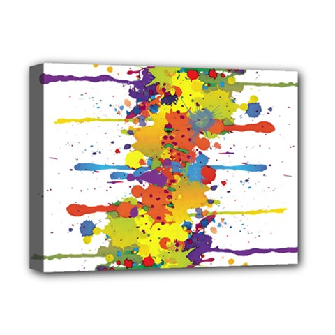 Crazy Multicolored Double Running Splashes Deluxe Canvas 16  X 12   by EDDArt