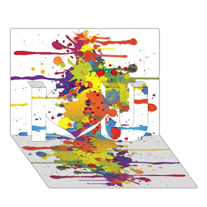 Crazy Multicolored Double Running Splashes I Love You 3D Greeting Card (7x5)