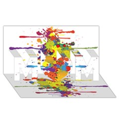 Crazy Multicolored Double Running Splashes Mom 3d Greeting Card (8x4) by EDDArt